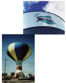 Hot Air Balloon and Water Tower